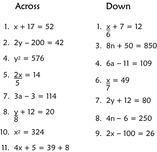 Fun Algebra Crossword Puzzle Will Help Get Kids Engaged in Learning – Simple Equations Worksheet