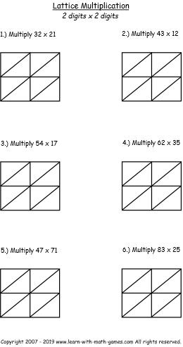 lattice multiplication template free pdf to practice lattice method. Black Bedroom Furniture Sets. Home Design Ideas