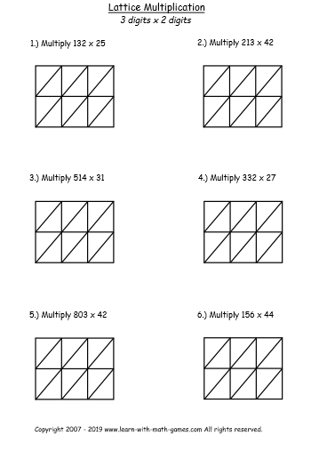 lattice multiplication worksheet 3 digits by 2 digits